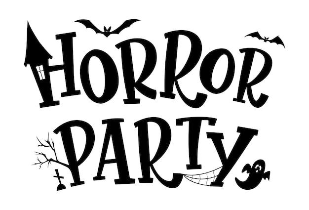 Horror partij tekstontwerp. halloween vectorillustratie met spookhuis, vleermuizen silhouetten, spook, web en bomen. geïsoleerde belettering teken.