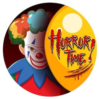 Horror time-badge met twee enge clowns