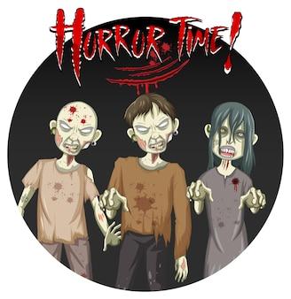 Horror time-tekstontwerp met drie enge zombies