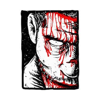 Horror zombie bloed illustratie