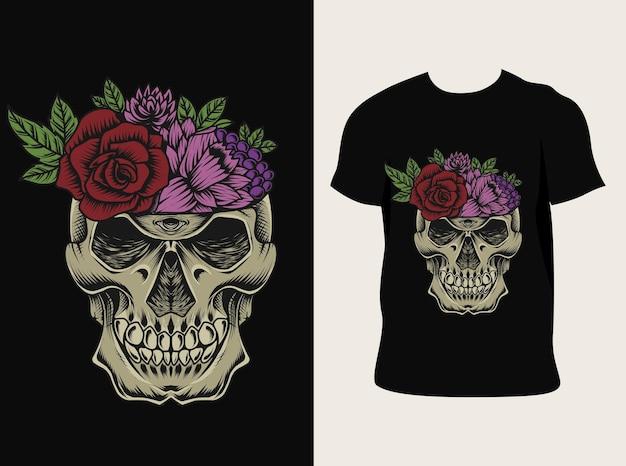 Horsskull bloem met t-shirtontwerp