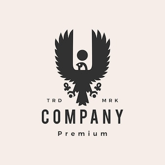 Horus adelaar valk vogel egypte hipster vintage logo sjabloon
