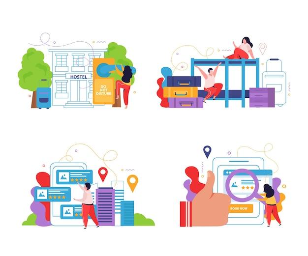 Hostel en toeristen 2x2 ontwerpconcept set van planning online zoeken en reserveren