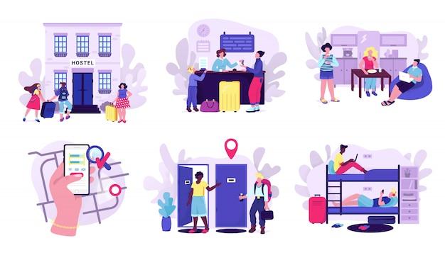 Hostel en toeristen accommodatie set van illustraties. kamer in hostel voor overnachting, reizigers met bagage, scherm van mobiele apps met kaart, goedkoop hotel of motelconcept voor toeristische website.