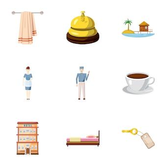 Hostel iconen set, cartoon stijl