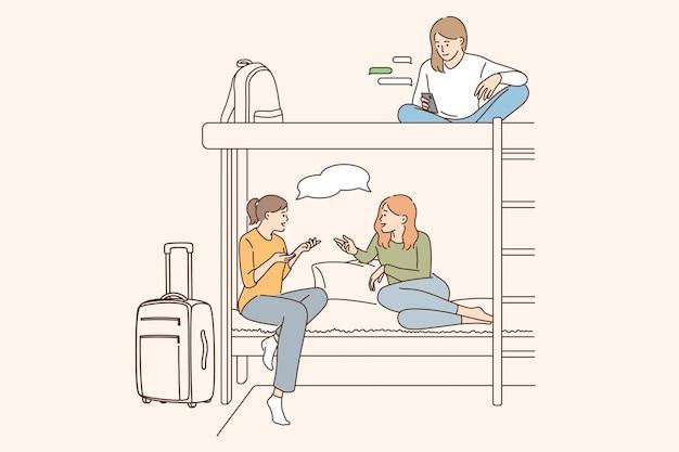 Hostel voor jongeren concept