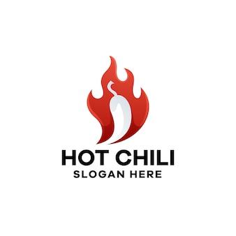Hot chili gradiënt logo sjabloon