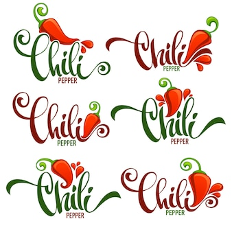 Hot chili peper logo, pictogrammen en emblemen, met hand getrokken belettering samenstelling