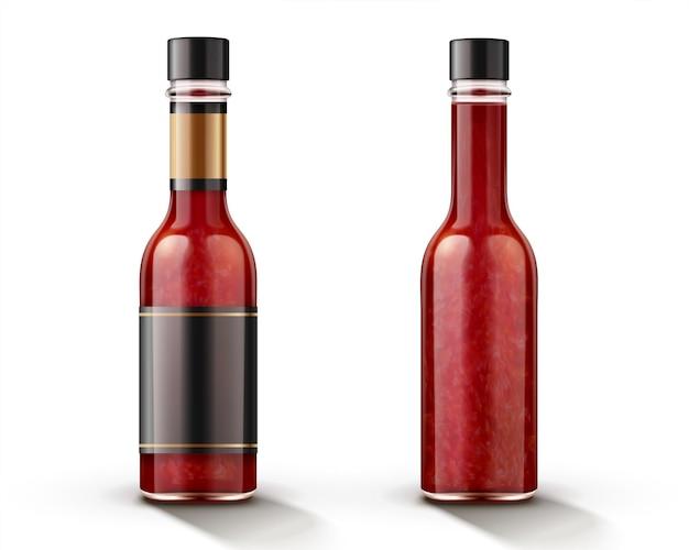 Hot chili saus fles met blanco label in 3d