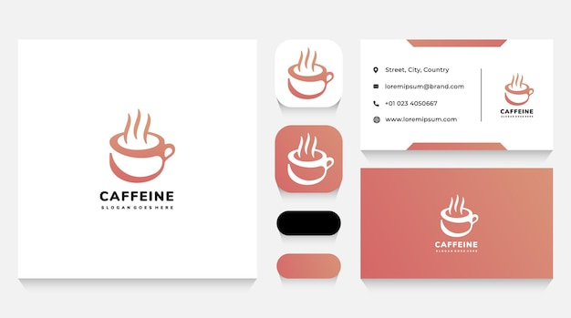 Hot coffee cup logo sjabloon en visitekaartje