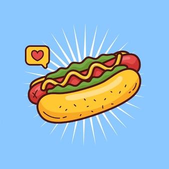 Hot dog doodle illustratie