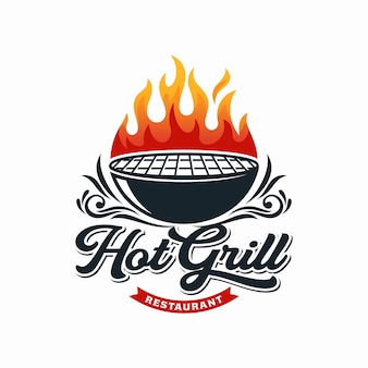 Hot grill logo ontwerpsjabloon