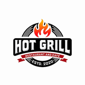 Hot grill logo ontwerpsjabloon