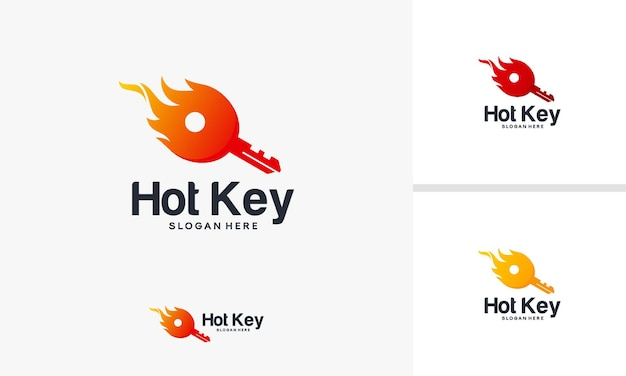 Hot key logo ontwerpen concept, fire key logo sjabloonontwerpen, fire logo ontwerpen vector