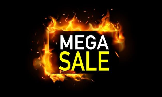 Hot mega verkoop banner. brandend roodgloeiende vonken realistische vuurvlammen