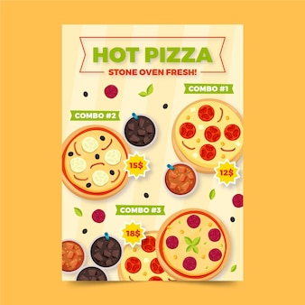 Hot pizza combo maaltijden poster sjabloon