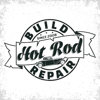 Hot rod garage illustratie