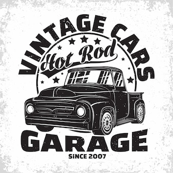 Hot rod garage logo ontwerp retro auto garage print stempels