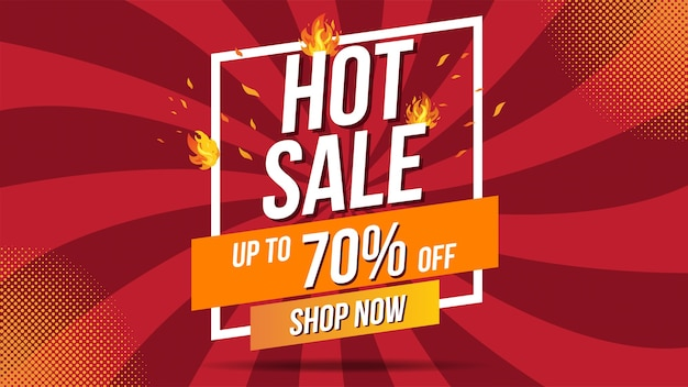 Hot sale fire burn sjabloon banner conceptontwerp, speciale aanbieding grote verkoop. einde van het seizoen speciale aanbieding banner shop nu. kan worden gebruikt voor poster, flyer en banner.