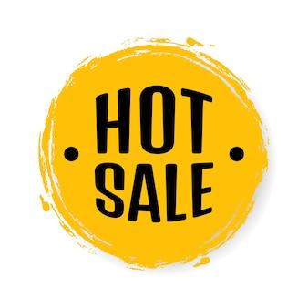 Hot sale, toespraak bubble banner, korting tag ontwerpsjabloon, app pictogram, vectorillustratie.