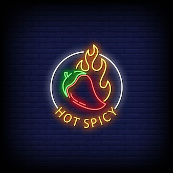 Hot spicy neon signs style text