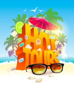 Hot tours tropisch strand illustratie
