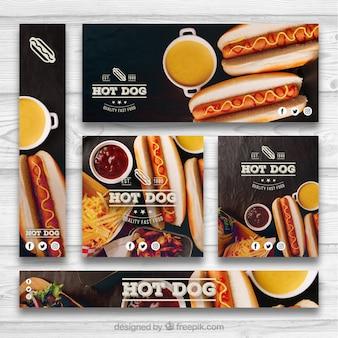 Hotdog banner set
