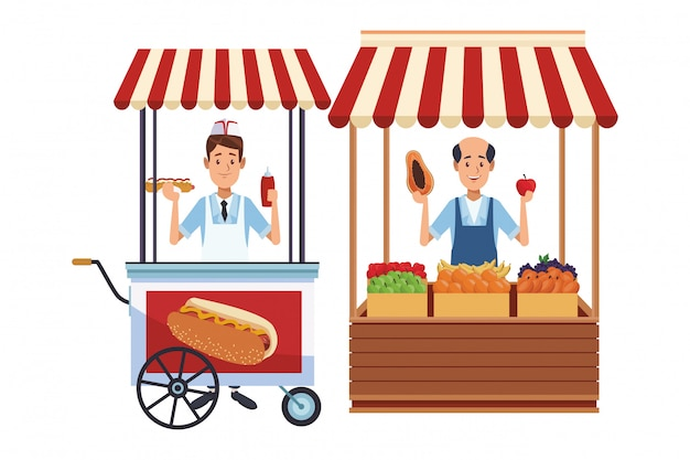 Hotdog cart cartoon