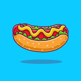Hotdog cartoon geïsoleerd op blauwe achtergrond.