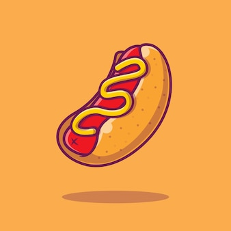 Hotdog cartoon pictogram illustratie.