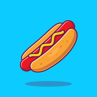 Hotdog cartoon vectorillustratie pictogram. fast food icon concept geïsoleerde vector. flat cartoon stijl
