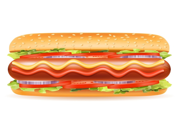 Hotdog fastfood op wit
