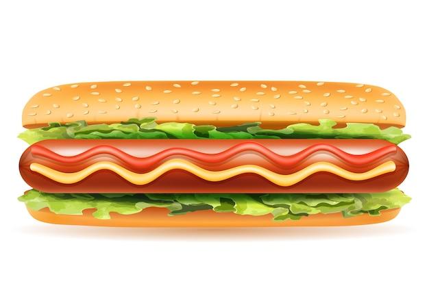 Hotdog fastfood op wit Premium Vector