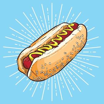Hotdog hand getekend