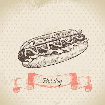 Hotdog. handgetekende illustratie