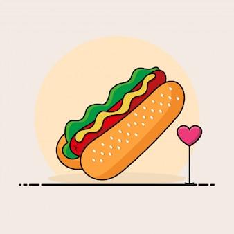 Hotdog illustratie. fastfood pictogram concept