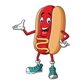 Hotdog mascotte stripfiguur presenteren