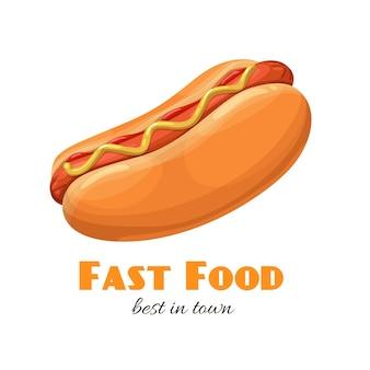 Hotdog met ketchup en mosterd. Premium Vector