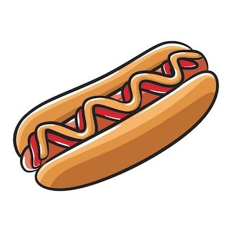 Hotdog met ketchup en mosterd