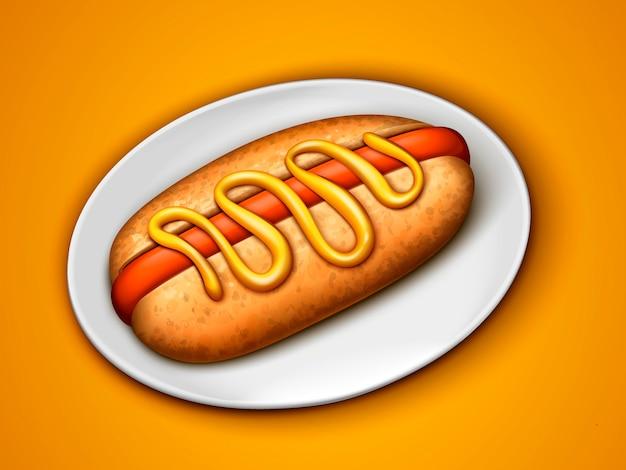 Hotdog met mosterdsaus een witte plaat, oranje achtergrond