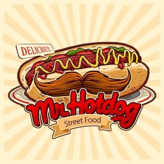 Hotdog met snor in de plaat voor fastfood van straatvoedsel en het logo van het junkfoodrestaurant