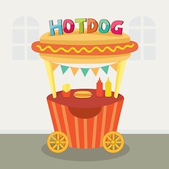Hotdog-standaardkar op straatvoedsel.
