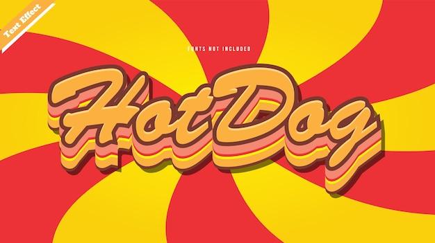 Hotdog tekst effect ontwerp vector. bewerkbare 3d-tekst