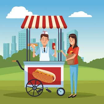 Hotdogkar in park