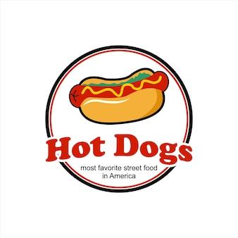Hotdogs logo ontwerp populaire straat