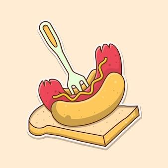 Hotdogs op sneetjes wit brood cartoon vectorillustratie