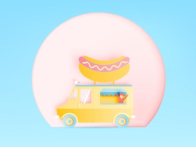 Hotdogvoedselwagen in papierkunst