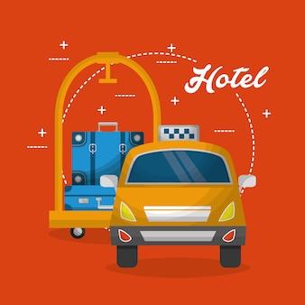 Hotel bagage trolley taxi service vectorillustratie