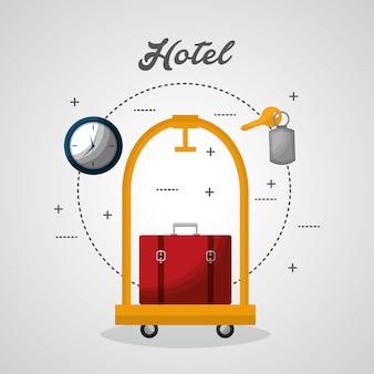 Hotel bagagekarretje en rode koffer vectorillustratie