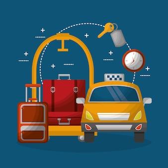 Hotel bagagekarretje koffers apparatuur en taxi